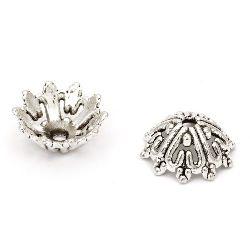 Мънисто метал шапка 14x6 мм дупка 2 мм цвят старо сребро -10 броя