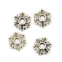 Мънисто метал шапка 2x7.5 мм дупка 1~1.5 мм цвят старо сребро -50 броя