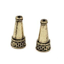 Мънисто метал шапка 21x10 мм дупка 1.5~6 мм цвят антик мед -2 броя