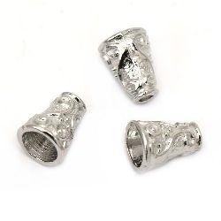 Мънисто метал шапка 10x7.5 мм дупка 2~5.5 мм цвят сребро -20 броя
