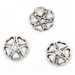Palarie metalica cu margele 10x2,5 mm gaura 1 mm culoare argintiu vechi -10 bucati