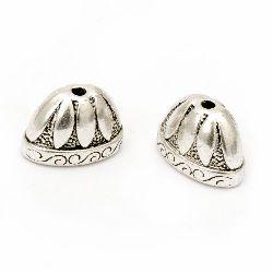 Мънисто метал шапка 14x2x12 мм дупка 2.5 мм цвят старо сребро -2 броя