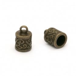 Καπελάκια χάντρας 13x8.5x8.5 mm τρύπα 2 mm μεταλλικά, αντικέ μπρονζέ -4 τεμάχια