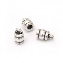 Мънисто метал шапка 10x3.5 мм дупка 2 мм цвят старо сребро -10 броя
