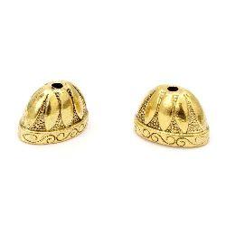 Мънисто метал шапка 14x2x12 мм дупка 2.5 мм цвят старо злато -2 броя