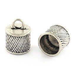 Накрайник метал шапка 15.5x12 мм дупка 3.5 мм цвят старо сребро -4 броя