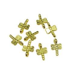 Висулка метална морско конче 17x18x2 мм дупка цвят злато -10 грама