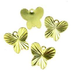Pandantiv metal fluture 10x10 mm relief aur -20 bucăți