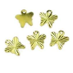 Pandantiv fluture metalic 8x9 mm relief aur -20 bucăți