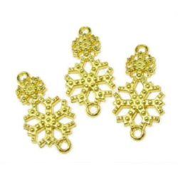 Element de legătură fulgi de zăpadă 25x13x2 mm culoare auriu -10 grame -7 bucăți