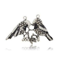 Metal charm pair of dyed birds with rhinestones 41x67x5 mm hole 2.5 mm color old silver