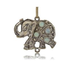 Metal pendant elephant with crystals for DIY amulets, necklaces making 48x38x7 mm hole 2.5 mm color old silver