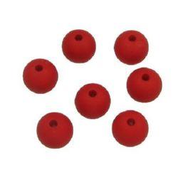 Мънисто плътно топче матирано 10 мм дупка 2 мм червено - 50 грама ~ 90 броя
