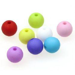 Мънисто плътно топче матирано 10 мм дупка 2 мм МИКС - 50 грама ~ 90 броя