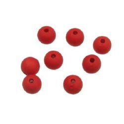 Мънисто плътно топче матирано 8 мм дупка 2 мм червено - 50 грама ~90 броя