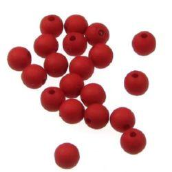 Margeleisolidă bilă mată 6 mm gaură 1,5 mm roșu - 50 grame ~ 400 bucăți