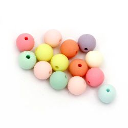Мънисто плътно топче 10 мм дупка 2 мм микс -50 грама ~ 85 броя