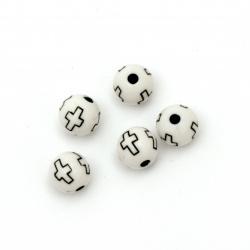 Мънисто двуцветно топче с кръст 10 мм дупка 2 мм бяло -50 грама ~90 броя