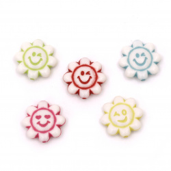 Мънисто двуцветно цвете с усмивка 19x20x6 мм дупка 2 мм бяло с цветен кант -20 грама ~19 броя