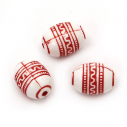 Мънисто двуцветно овал 9x12.5 мм дупка 2 мм бяло и червено -50 грама ~75 броя