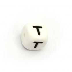 Margele cub silicon 12x12 mm gaură 2,5 mm culoare albă litera T