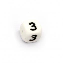 Мънисто силикон кубче 12x12 мм дупка 2.5 мм цвят бял буква З