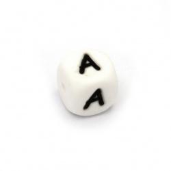 Мънисто силикон кубче 12x12 мм дупка 2.5 мм цвят бял буква А