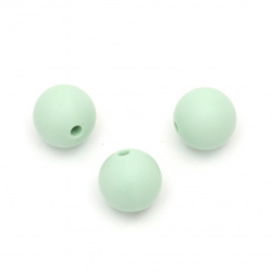 Silicone ball shaped bead green,12 mm, hole size 2.5 mm - 5 pieces