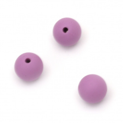 Silicone ball shaped bead for DIY soother holder chain and other crafts accessories 12 mm hole 2.5 mm purple - 5 pieces
