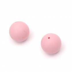 Delicate silicone ball shaped bead 12 mm hole 2.5 mm pink - 5 pieces