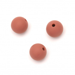 Dense silicone ball bead 12 mm hole 2.5 mm coral color - 5 pieces