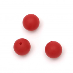 Opaque silicone ball shaped bead for DIY jewelry accessories 15 mm hole 2.5 mm color red - 5 pieces
