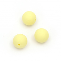 Silicone ball shaped bead for DIY art projects 15 mm hole 2.5 mm color yellow - 5 pieces