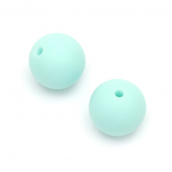 Silicone ball shaped bead for DIY jewelry making 15 mm hole 2.5 mm color turquoise light - 5 pieces