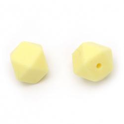 Мънисто силикон многоъгълник 14x14 мм дупка 2.5 мм цвят жълт - 4 броя