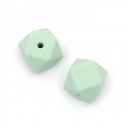 Silicone polygon shaped bead 14x14 mm hole 2.5 mm color green - 4 pieces