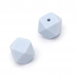 Opaque silicone polygon bead 14x14 mm hole 2.5 mm color light blue - 4 pieces