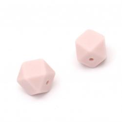 Мънисто силикон многоъгълник 14x14 мм дупка 2.5 мм цвят розово светло - 4 броя