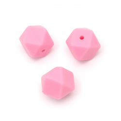 Silicone polygon bead 14x14 mm hole 2.5 mm color pink dark - 4 pieces
