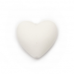 Silicone bead in heart shape 19x20x12 mm hole 2.5 mm color white - 2 pieces