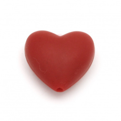 Silicone heart form bead 19x20x12 mm hole 2.5 mm color red - 2 pieces