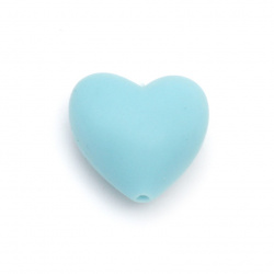 Silicone heart shaped bead 19x20x12 mm hole 2.5 mm color blue - 2 pieces