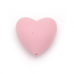 Silicone heart bead 19x20x12 mm hole 2.5 mm pink - 2 pieces