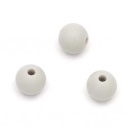 Dense silicone ball shaped bead for DIY  decoration, gifts and other crafts 9 mm hole 2.5 mm color gray - 5 pieces