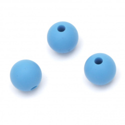 Bead silicone ball for decoration hairpins, eyeglass lanyard and other accessories 9 mm hole 2.5 mm color blue - 5 pieces