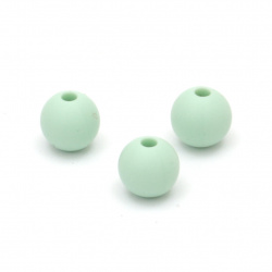 Dense silicone ball shaped bead 9 mm hole 2.5 mm color green - 5 pieces