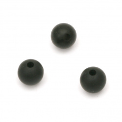 Silicone bead in ball shapе 9 mm hole 2.5 mm color black - 5 pieces