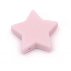 Мънисто силикон звезда 14x13x8 мм дупка 2.5 мм цвят розов - 2 броя