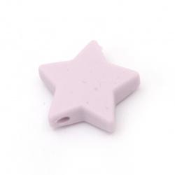Мънисто силикон звезда 14x13x8 мм дупка 2.5 мм цвят лилав - 2 броя