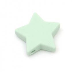 Мънисто силикон звезда 14x13x8 мм дупка 2.5 мм цвят зелен - 2 броя